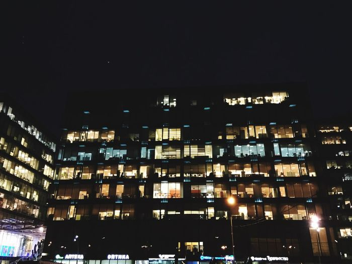 View of residential building at night