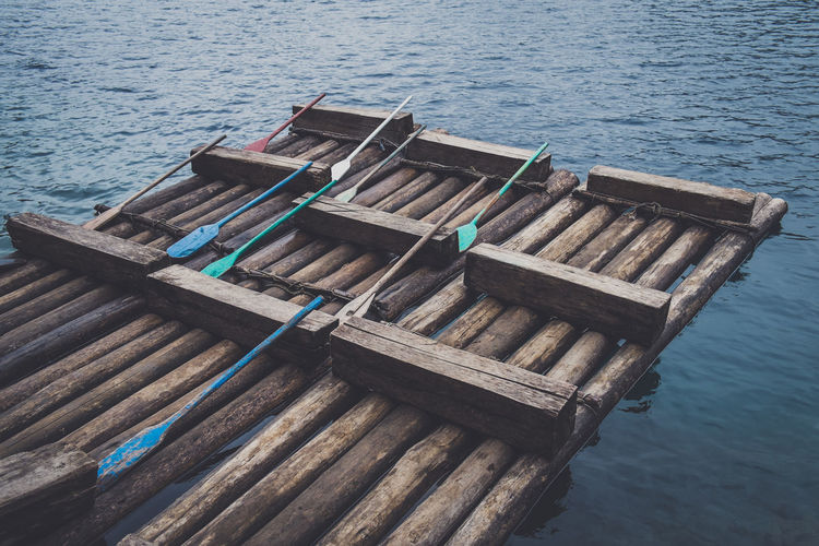High Angle View Of Rustic Rafts