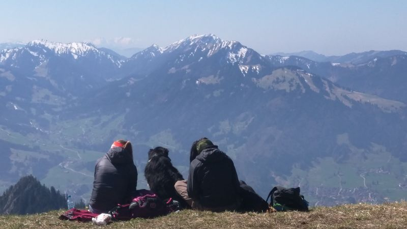 Mountain Two People Outdoors High Viewpoint Alps Alpen