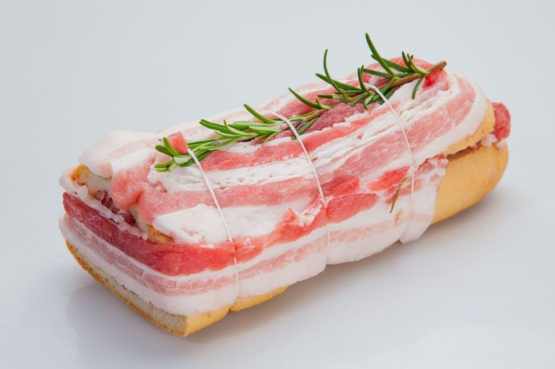 Composition of meat, beef and pork with vegetables Close-up Cultures Food Food And Drink Freshness Gourmet Ham Healthy Eating Indoors  Meat No People Raw Food Ready-to-eat Sashimi  Seafood Serving Size SLICE Studio Shot White Background