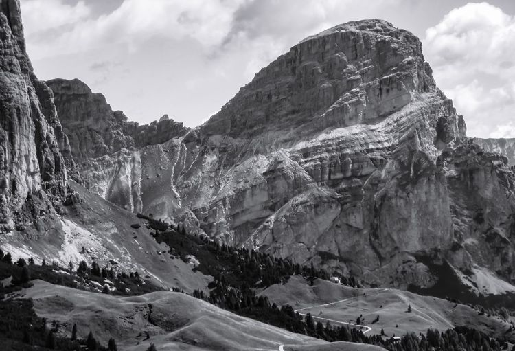 Dolomites in Black and White EyeEm Best Shots Eye4photography  EyeEm Nature Lover Mountain Sky Nature Cloud - Sky Rock - Object Scenics Tranquility Tranquil Scene Beauty In Nature Day Outdoors No People Physical Geography Mountain Range Snow Landscape Winter Cold Temperature