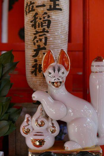 稲荷神社 Inari Shrine Kyoto,japan Nagaokakyo Kitsune Fox Indoors  No People Close-up Day