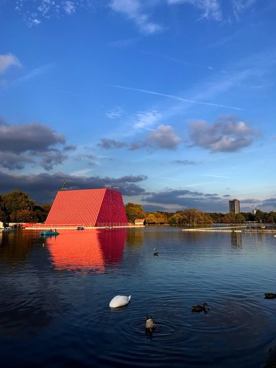 Bluesky Lake Artphotography Project Floating On Water London lifestyle Art Instalation Artistic Arts Culture And Entertainment Blue Christoandjeanneclaude Mastaba Hyde Park Water Sky Architecture Built Structure Cloud - Sky Nature No People Reflection Outdoors Nautical Vessel