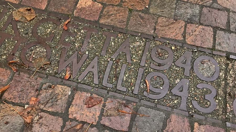 A mark on the ground demarcating the wall of the Warsaw Jewish Ghetto High Angle View Outdoors No People Leaf Day Stone Tile Close-up