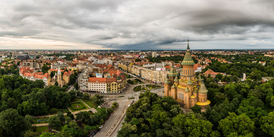 Timisoara Panoramic view City European Union Timisoara Timisoara, Romania Architecture Building Exterior Built Structure City Cityscape Cloud - Sky Day Europe High Angle View Outdoors Overcast Sky TOWNSCAPE Tree