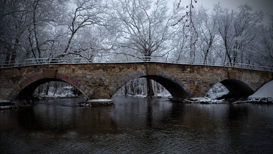 Snow Day Arch Arch Bridge Arched Architecture Bare Tree Bridge Bridge - Man Made Structure Built Structure Cold Temperature Connection Nature No People Reflection River Transportation Tree Water Waterfront Winter