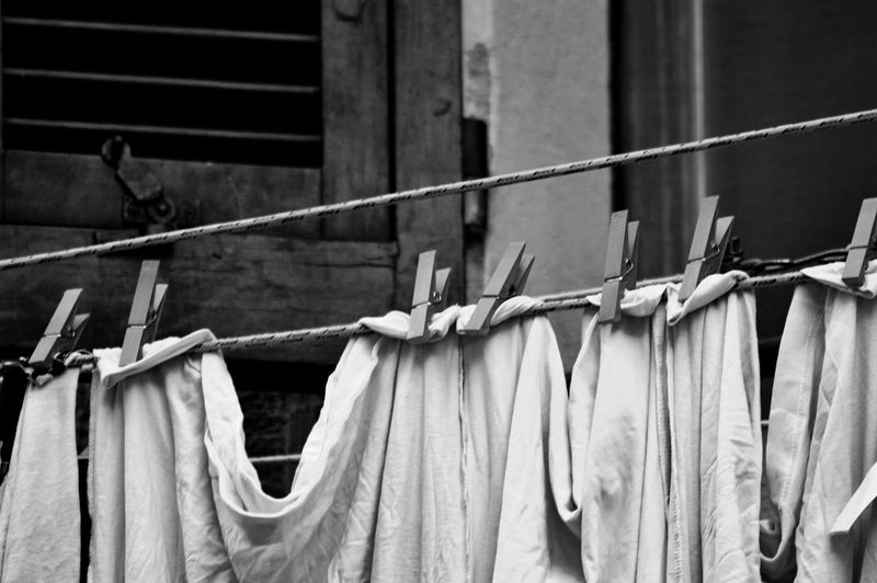 Low angle view of clothes hanging on rope