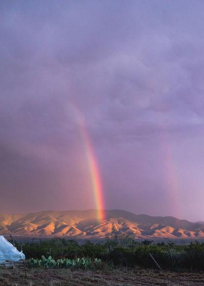 Rainbow Over Field Against Sky