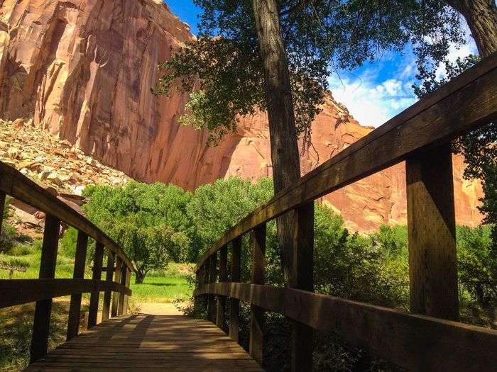 Footbridge Against Rocky Mountain At Capitol Reef National Park