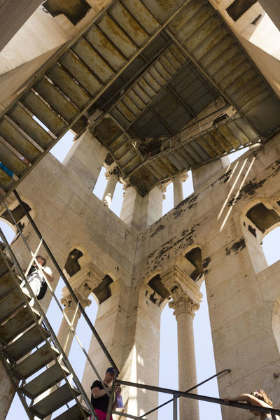 Saint Domnius bell tower in Split, Croatia, ooking up Croatia Split Stairs Stairway Architecture Belfry Bell Tower Built Structure Column Columns And Pillars Escher Indoors  Looking Up Low Angle View No People Prospective Saint Domnius Spalato Stairs_collection Stairway To Heaven Steeple Window