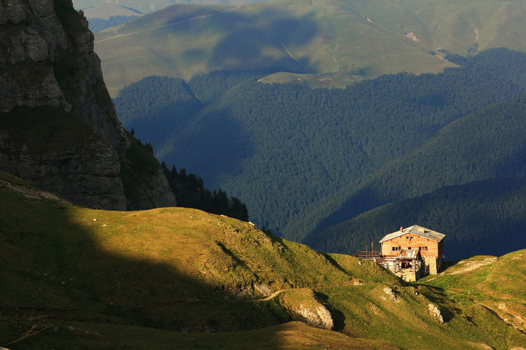 High angle view of chalets on mountain at bucegi natural park
