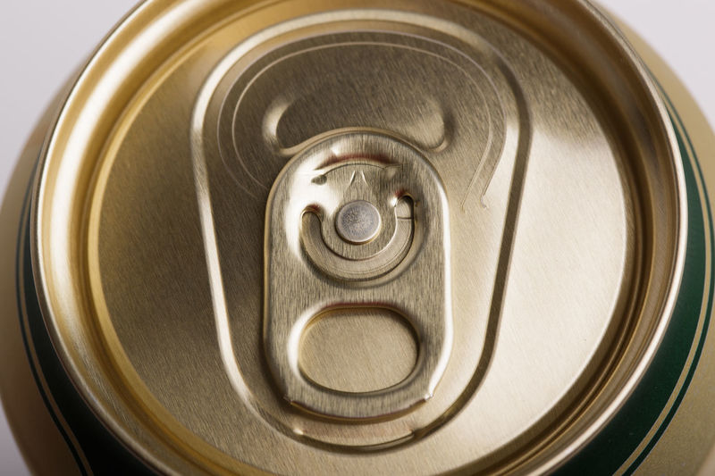 High angle view of drink on metal