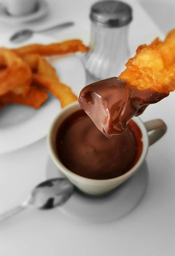 Churritos... Chocolate Indulgence Food And Drink Close-up Dark Chocolate Food Churrosconchocolate Churros Con Chocolate Churros Y Chocolate Freshness Sweet Food Indoors  White Background Chocolate Sauce Day Breakfast Breakfast ♥ Breakfast Time BreakfastTime  Breakfast Is Served BreakfastTime  Chocolate Time Chocolate Covered The Week Of Eyeem EyeEmNewHere The City Light