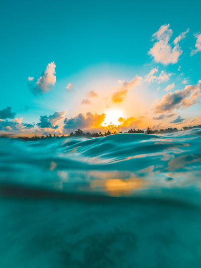 Beautiful Half Underwater Sea Sea And Sky Instagram Maldives Photography Photooftheday Sunrise Landscape Wave Blue Underwater Summer Reflection Seascape Flamingo