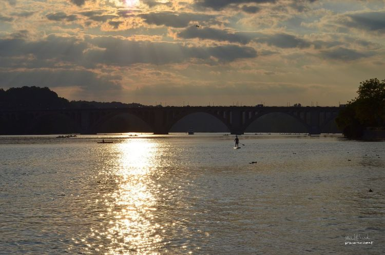 8.26.14 | This was on my birthday on the Georgetown Waterfront | Photo: Michael F. Pichette Sunset Connection Bridge - Man Made Structure Water Architecture Waterfront Sky River Scenics Outdoors