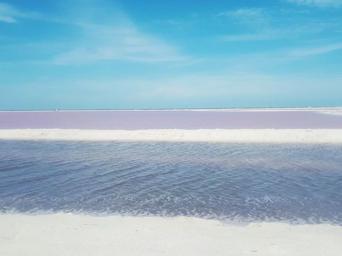 las coloradas Yucatán Pink Water Vacations Beach Sea Blue Sunny Landscape Outdoors Sky Tranquility Tranquil Scene Beauty In Nature Salt Basin Salt - Mineral Nature Scenics