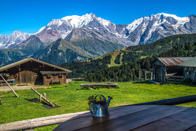 Beauty In Nature Blue Built Structure Day Grass Grassy Green Color Idyllic Landscape Majestic Mountain Mountain Range Nature No People Non-urban Scene Outdoors Remote Scenics Sky Snowcapped Mountain Sunlight Tranquil Scene Tranquility Travel Destinations Village