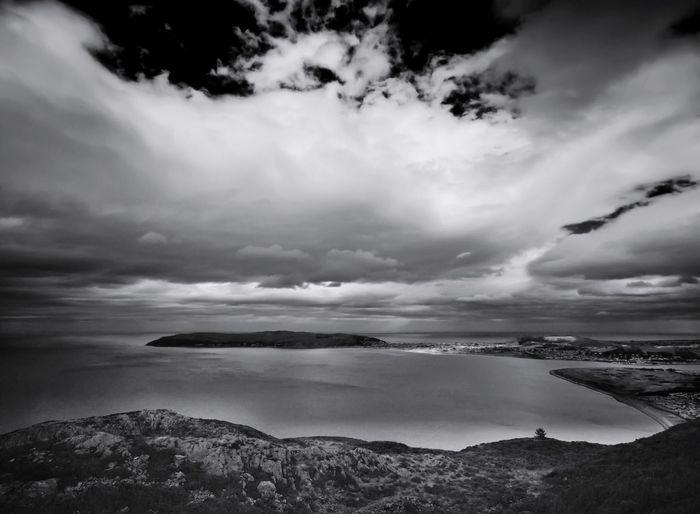 View from Penmaen-Bach, looking towards the Great Orme and Llandudno, North Wales. Blackandwhite OlympusPEN Kowa Lens Monochrome North Wales Sea And Sky Seascape Walking Around Light And Shadow Shades Of Grey