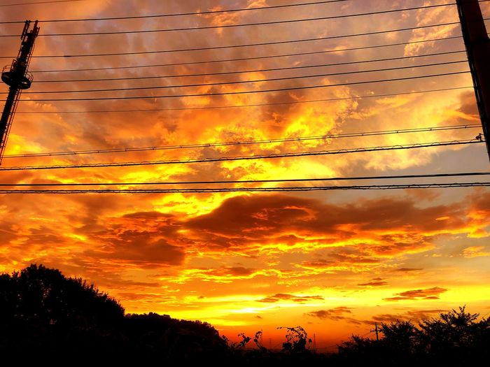 Sunset Sky Orange Color Cloud - Sky Silhouette Beauty In Nature Nature Low Angle View No People Scenics - Nature Dramatic Sky