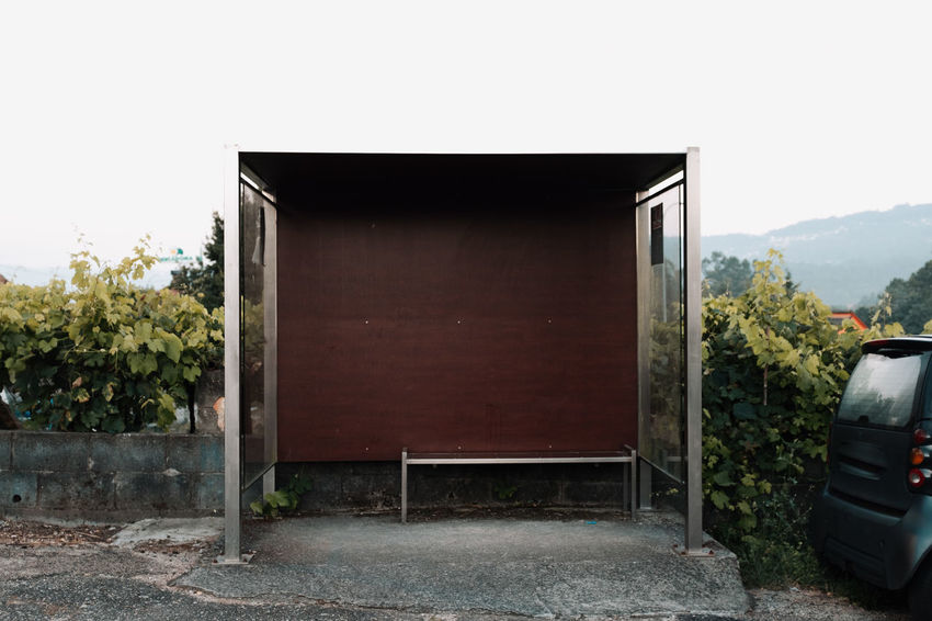 LOST IN GALICIA 🚌 Lostingalicia Threeweeksgalicia Bus Stop Architecture No People Nature Day Plant Building Exterior Built Structure Sky Tree Copy Space Outdoors Absence Building City Transportation Blank Street Empty Mode Of Transportation Clear Sky