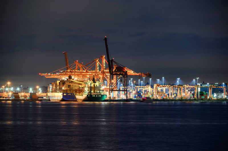 Illuminated commercial dock by sea at night
