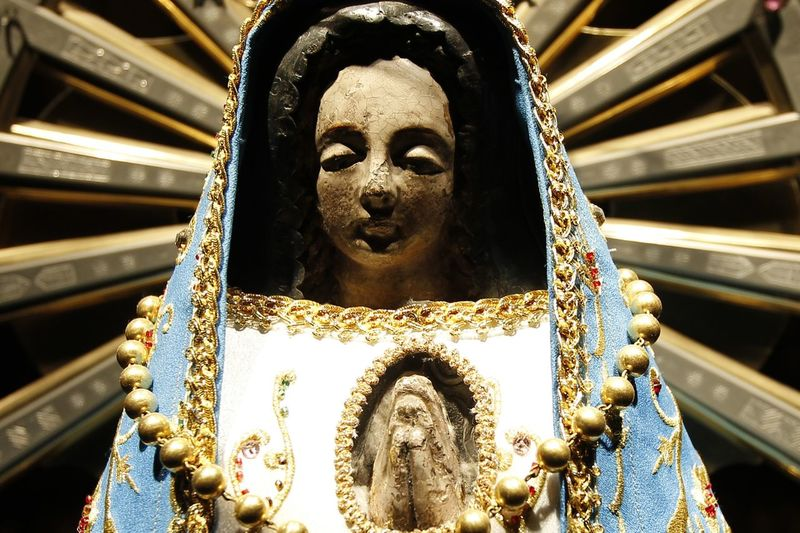 Close-Up Of Virgin Mary Statue In Church