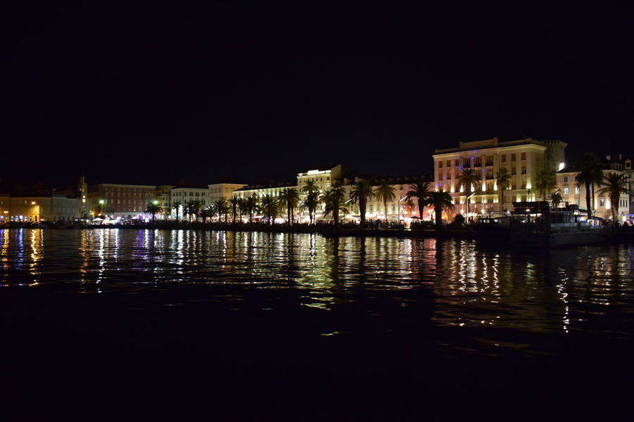 City Life Croatia EyeEm Best Shots EyeEmNewHere Night Lights Nightphotography Old Town Split Architecture Building Exterior Built Structure City City Lights Croatiafulloflife Eyeemphotography Illuminated Light On The Sea Night No People Outdoors Reflections Sky Water Waterfront