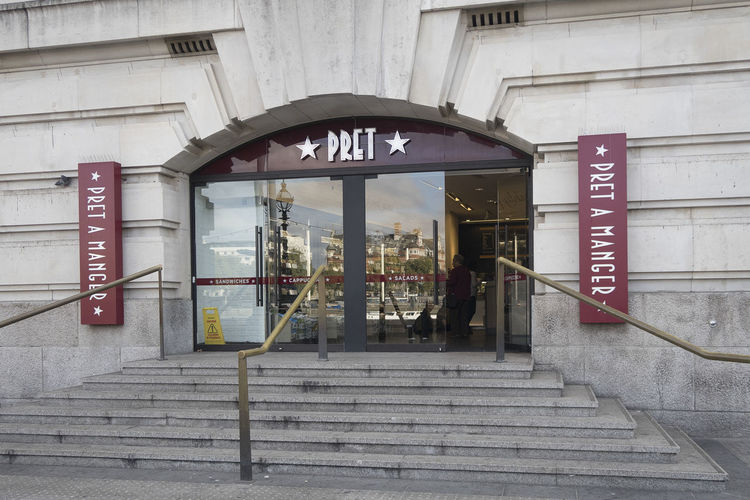 London, United Kingdom - October 11, 2018; A branch of the Pret a Manger stores in London, an international sandwich shop chain which is based in the United Kingdom Pret A Manger Store London Pret A Manger Store United Kingdom Steps And Staircases Architecture Built Structure Entrance Staircase Outdoors Store Front Shopping Front