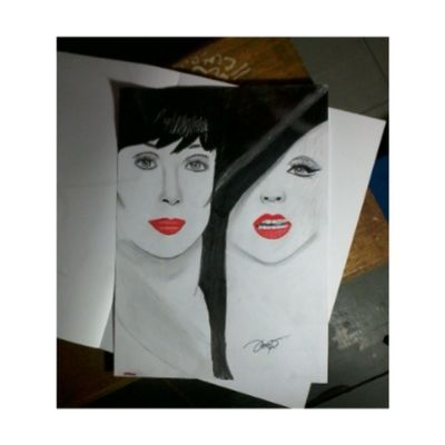 it supposed to be a Burlesque poster but i messed it up Cher  Christinaaguilera Sketching Sketch burlesque