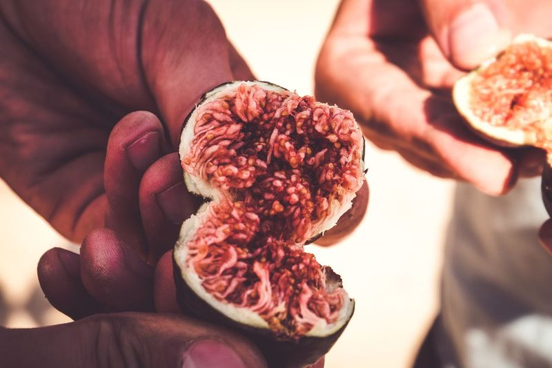Close-up of cropped hands holding fig