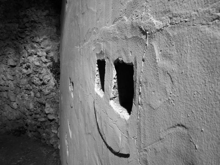 Illuminated Eivissa 🍒❤ Eivissa Ibiza Architecture Black And White Photography Blackandwhite Photography Black & White Blackandwhite Close-up Low Angle View Outdoors Smiley Smiley Face Daltvila Oldtown Graffiti No People Day Architecture