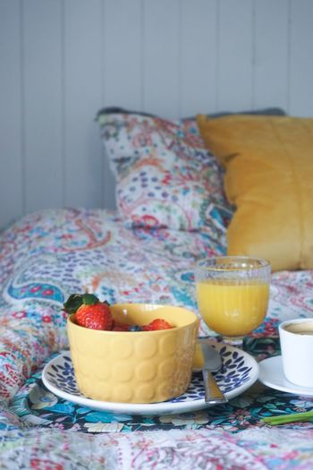 breakfast in bed Juice Orange Juice  Breakfast Food Food And Drink Bed Bedroom White Background Copy Space Copyspace Open Space Space Home Interior Interior Drink Fruit Dessert Tablecloth Bowl Homemade Raspberry Table Old-fashioned Close-up Black Coffee Blueberry Coffee Strawberry Berry Fruit Salad