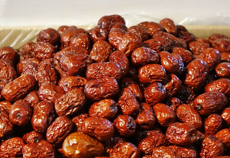 Chinese red dates or dried jujube are a popular medicinal food in Taiwan. Food Dried Fruit Dried Food Sweet Food Chinese Date Dried Jujube Chinese Red Dates Medicinal Food Tonic Nutrition Healthy Eating Red Color Market Stall