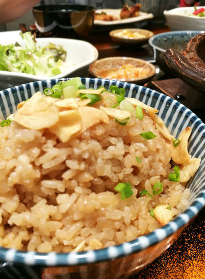 Garlic Fried Rice Bowl Bowling Close-up Food Food And Drink Garlic Fried Rice Healthy Eating Indoors  Japanese Food Meal Nutrition Plate Ready-to-eat Rice Table Vegatables