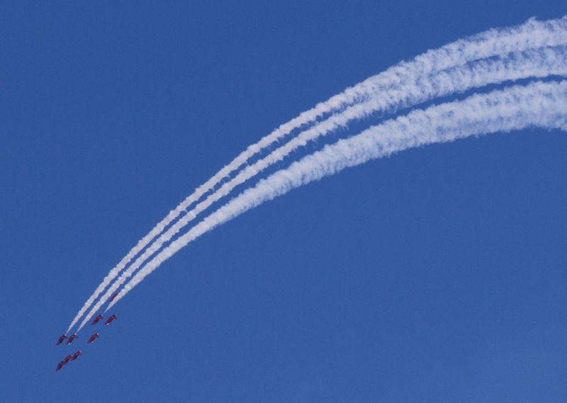 Acrobatic Flight Air Festival Air Show Blue Day Engineering Fighter Plane Formation Flight Low Angle View No People Outdoors Plane Planes Red Arrows Red Arrows Air Display Skill  Sky Smoke Smoke Trails Speed Tall - High Team Work Colors And Patterns