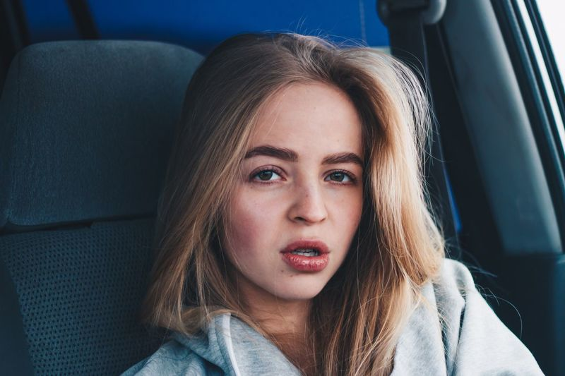 6 февраля. 🥰 EyeEm Selects Motor Vehicle Car Mode Of Transportation Vehicle Interior Car Interior Portrait One Person Transportation Land Vehicle Real People Headshot Lifestyles Hairstyle Indoors  Sitting Looking At Camera Women Front View