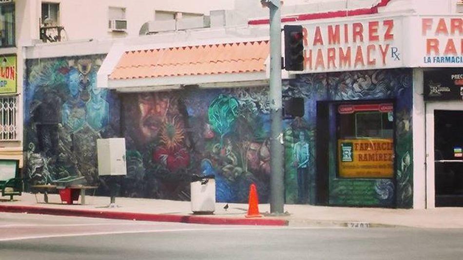 Dope Mural in Boyle Heights on the side of Ramirez Pharmacy on Cesar Chavez & Soto Mural Art Streetart Graffiti Chicano Chicanoart Losangeles Eastlosangeles Boyleheights Johnyindigo