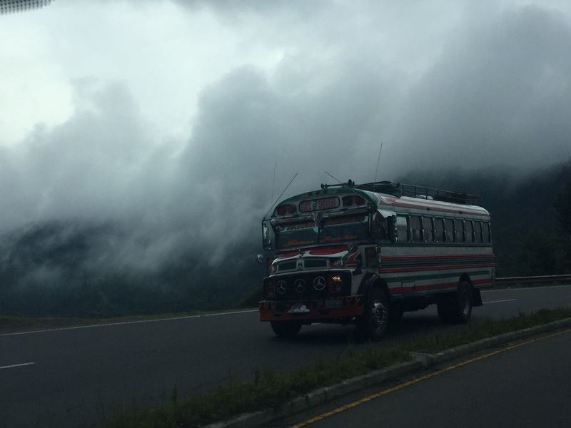 Border Bus Mexico Sanpedro Travel Traveling Drive Longroad Road Clouds Sky Cloudy Gray Chickenbus Nofilter Iphone6plus Appleiphone No People Transportation Extream Path