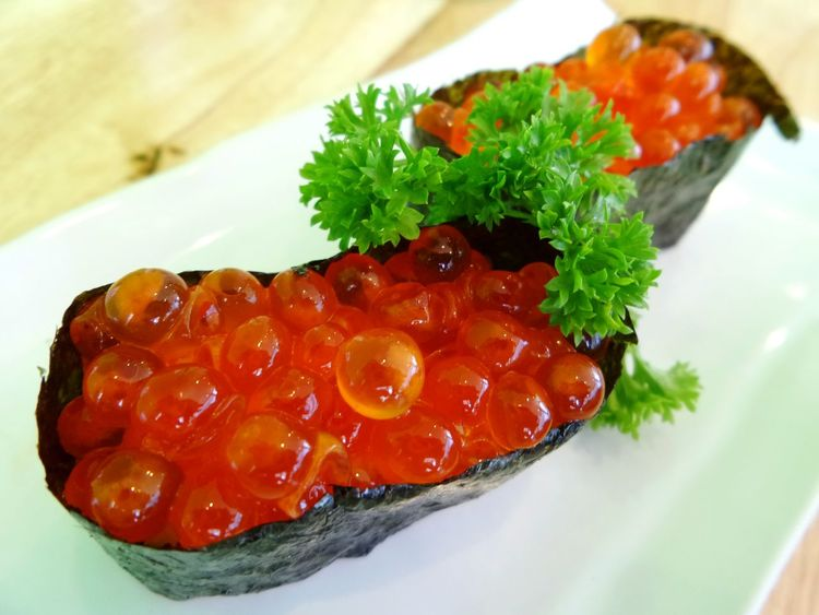 Two Is Better Than One Colour Of Life, Japanese Food Food Sushi Ready-to-eat Meal Red Ikura Sushi Ikura Ikura Caviar Close-up Food And Drink Cooked