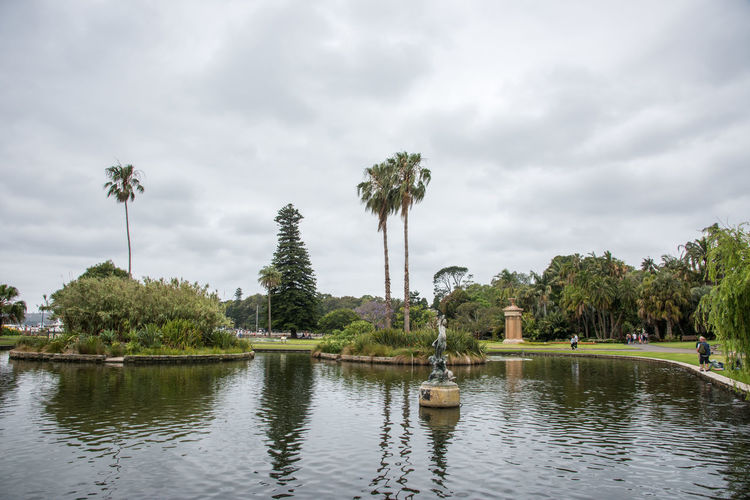 Sydney,NSW,Australia-November 19,2016: Royal Botanic Gardens with pond, lush greenery and tourists in Sydney, Australia Australia Norfolk Pines Pond Royal Botanic Gardens Statue Tourist Tourist Attraction  Beauty In Nature Cloud - Sky Garden Greenery Landscape Monument Nature Outdoors Palm Tree Reflection Scenics Sky Sydney Tourism Tranquility Tree Water Waterfront