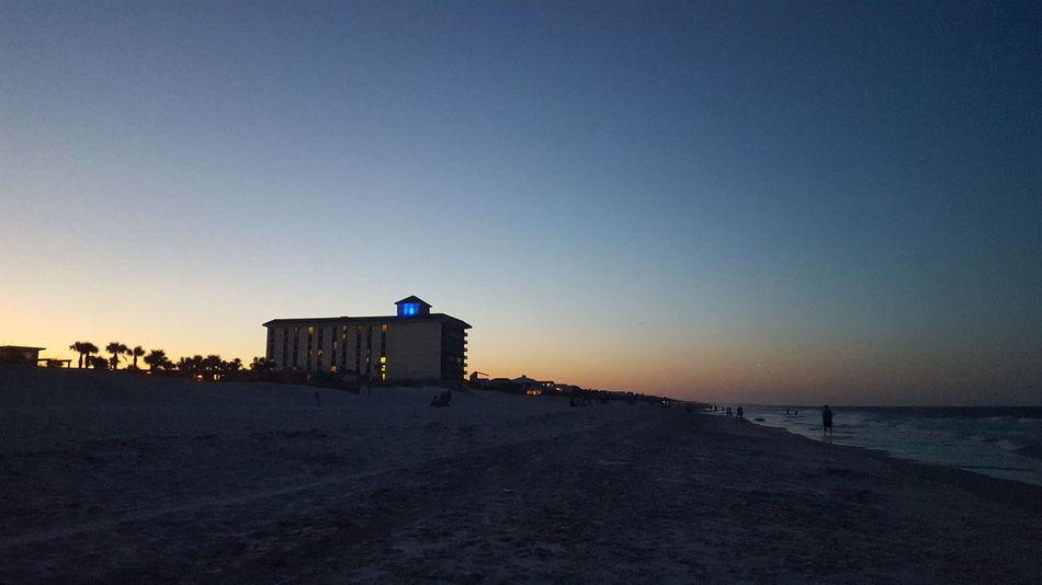 Beach Building Exterior Built Structure Clear Sky Dusky Shoreline Horizon Over Water Scenics Sea Sunset Tranquility