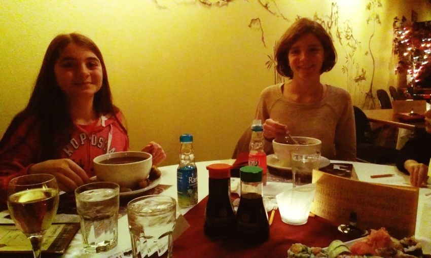 Little sisters with their Udon noodle bowls Udon Noodles Sushi Yummy Sisters