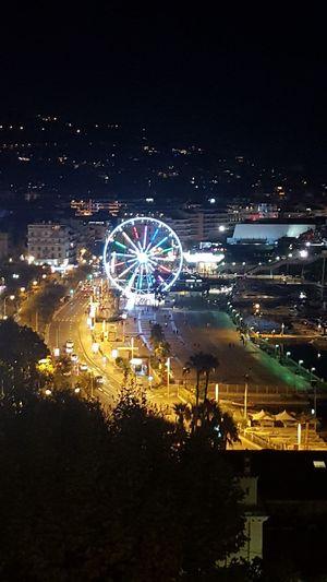 Night Ferris Wheel Illuminated Cityscape Sea Outdoors Cannes, France Circle City