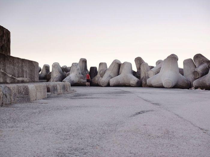 Concrete blocks against clear sky