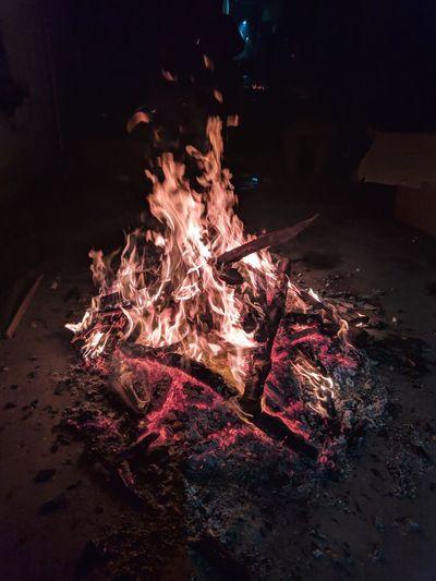 High angle view of bonfire