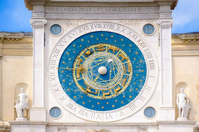 Torre dell' Orologio Eyeem Marketplace EyeEm Selects Architecture Built Structure Building Exterior Travel Destinations Low Angle View Art And Craft No People Representation History The Past Clock Astrology Sign Day Creativity Sky Pattern Human Representation Ornate Time Clock Face