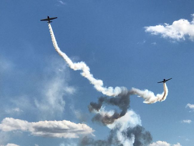 Airshow Vapor Trail Sky Flying Airplane Aerobatics Performance Military Airplane Warbirds