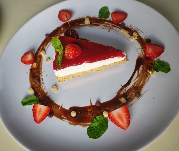 High angle view of dessert served in plate