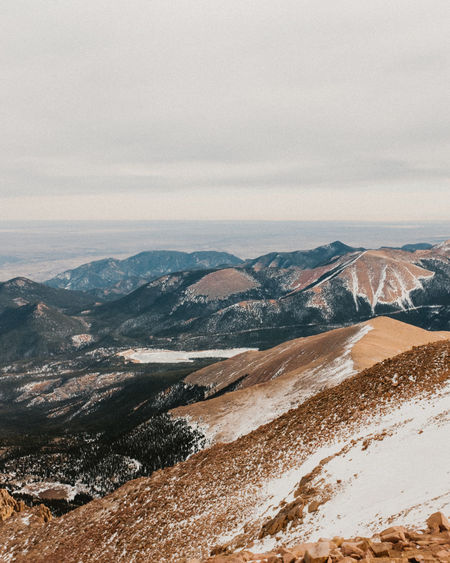 Beauty In Nature Colorado Day Landscape Mountain Mountain Range Nature No People Outdoors Pikes Peak Pikespeak Scenics Sky Snow Tranquil Scene Tranquility
