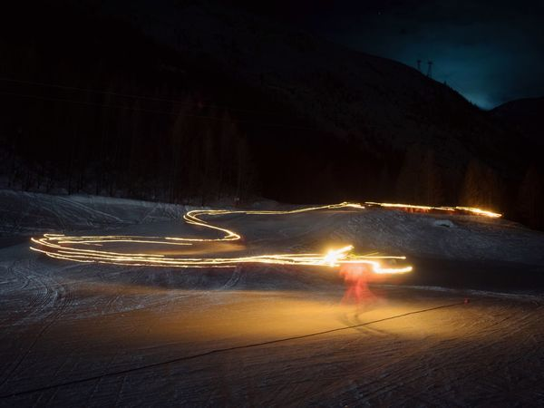 Mountains Night Lights Nightphotography Skiing Night Illuminated Night Transportation Motion Light Trail Long Exposure Mode Of Transportation Glowing Nature No People Speed Outdoors Sky